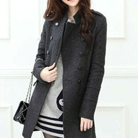 Long Sleeve Double Buttoned Wool Trench Coat