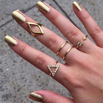 Lowest Price 5Pcs Rhinestone Golden Silver Above Knuckle Band Ring Midi Finger Tip Stack Rings 8A2C