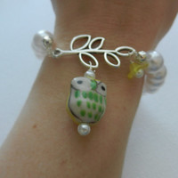 Yellow Owl Bracelet, Pearl Stretch Bracelet, Teen Bracelet