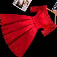 Runway Brand Dress Family Matching Outfits  Embroidery Thread Lace Vetement Femme dress Plus Size XXL short Red Pleated dress