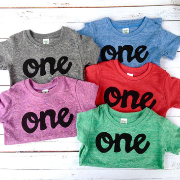 script one - choose Colors- red, blue, grey, mint green, purple- boys 1st birthday shirt black one kids birthday theme first party 1 year old baby infant gift