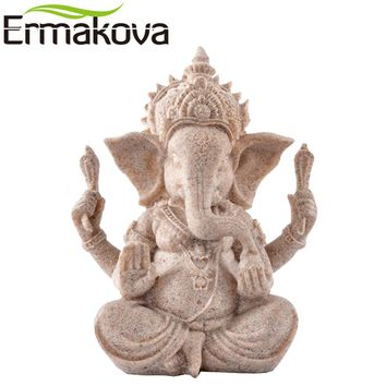 ERMAKOVA Buddha Statue Vintage Thailand Fengshui Elephant Sculpture Natural Sandstone Craft Ganesha Figurine Home Desk Decor