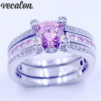 Vecalon New Female Engagement ring 5A Pink zircon Cz White gold filled wedding Band ring Set for women men Birthstone Jewelry