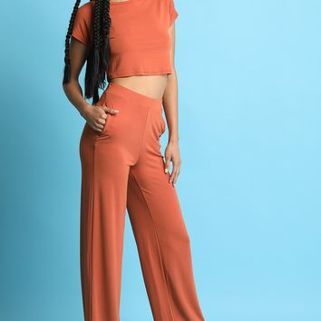 Two Piece Crop Top with Palazzo Pants Set