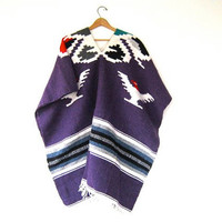 STOREWIDE SALE... 70s Mexican poncho. Wool blanket coat. Mexican Serape.
