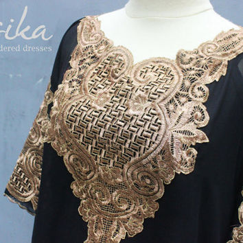 Black Short Caftan Dress Tunic Gold Embroidery Kaftan Wedding Party Summer Dress Batwing Style