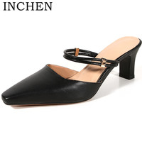 INCHEN 7cm high heel Square heel Genuine Leather Summer Sexy Mules Metal Decoration pumps Square toe Handmade Party shoes P1738