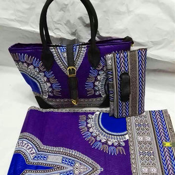 Purple dashiki ankara african wax print fabric match quilted fabric tote bags&purse for sewing