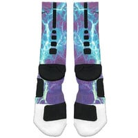 Fast Shipping!! Nike Elite Socks Customized Kaboom Teal Purple