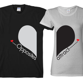 """Opposite Attract  """"Cute Couples Matching T-shirts"""""""