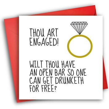 Open Bar So One Can Get Drunk For Free Funny Happy Wedding Day Card Getting Married Card Engagement Card FREE SHIPPING