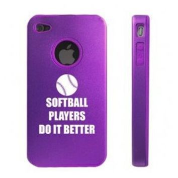 Apple iPhone 4 4S Purple D7305 Aluminum & Silicone Case Cover Softball Players Do It Better