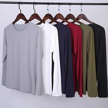 Spring O-Neck Slim Fit Long Sleeve Men Trend Casual T-Shirt
