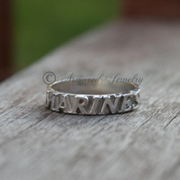 Sterling Silver US MARINES Ring - Military Jewelry - Military support