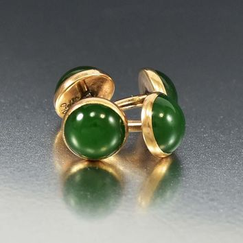 Art Deco Spinach Green Jade 14K Gold Cufflinks