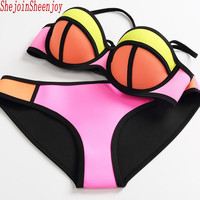 Swimwear Hot Sale Women Neoprene Bikini Set Woman New Summer 2017 Sexy Swimsuit Bath Suit Push Up Bathsuit