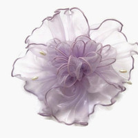 Handmade Hair Barrette Clip Lavender Sheer Shimmering Fabric Accented with Pearls, Dressy or Casual