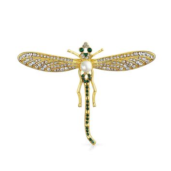 Dragonfly Insect Brooch Pin White and Black Crystal Gold Plated Alloy