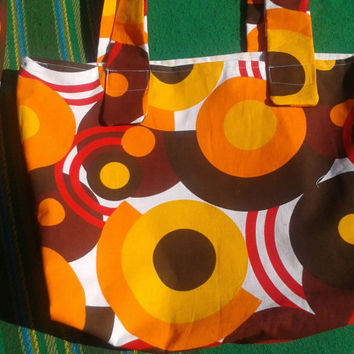 ON SALE Large 60's French Mod Orange Bag - Handmade French Tote - Circles Design Purse  - Orange, Brown, Yellow, Red , White - Cotton Canvas
