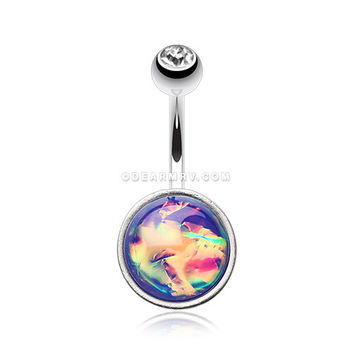 Unicorn Blood Foil Iridescent Belly Button Ring (Rainbow)