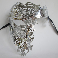 Black Silver Rhinestone Phantom Metal Filigree Venetian Party Mask Gold Red Half Face Skull Laser Cut Halloween Masquerade Mask