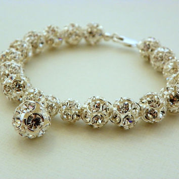 Elegant Wedding, Clear Rhinestone Ball Bracelet, Old Hollywood, Sterling Silver Single Stranded Bridal or Bridesmaid, Wedding Bracelet.