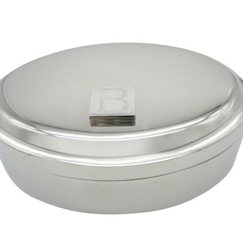 Letter B Etched Monogram Pendant Oval Trinket Jewelry Box