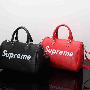 DCCK LV X Supreme Women Leather Luggage Travel Bags Tote Handbag