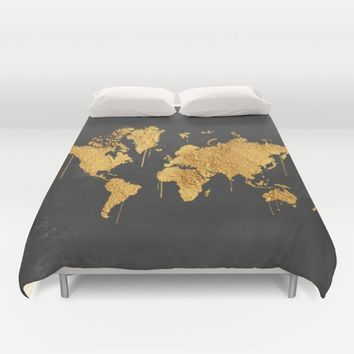 Gold World Map Duvet Cover by Lady Violet