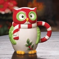 Holiday Hoot Owl Ceramic Mug With Lid