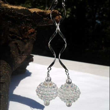 Sterling Silver Swirl, Aurora Borealis Bead Dangle Earrings