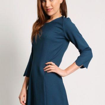 Nashville Scalloped Dress in Teal