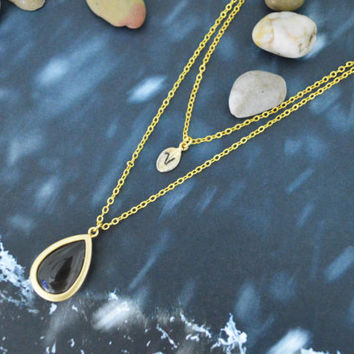 A-179 Layered pendant necklace,Double strand necklace,Personalized initial leaf necklace,Jade,Gold plated/Bridesmaid/gifts/Everyday jewelry/