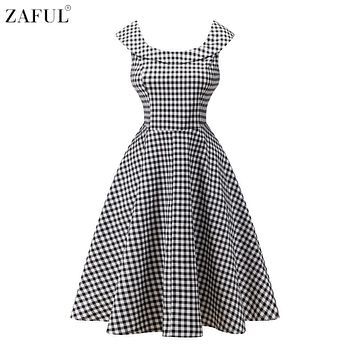 ZAFUL Women Audrey Vintage dress 60s 50s Floral Print U Neck Pin Up Rockabilly Retro Dress Girls Holiday Dress Feminino Vestidos