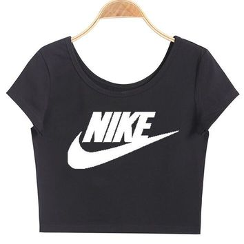 nike print round neck solid cotton chic short sleeve crop top tee