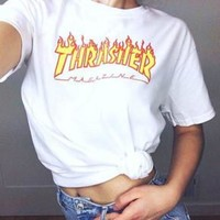 """THRASHER""Fashion print loose leisure short sleeve Yellow letters T-shirt White"