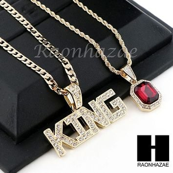 "ICED OUT RUBY KING PENDANT 24"" 30"" CUBAN LINK ROPE CUBAN CHAIN NECKLACE SET D012"