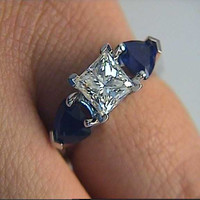 2.52ct I-VS2 Princess Cut Diamond and Sapphire Engagement Ring 18kt white gold JEWELFORME BLUE