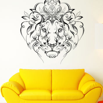 Wall Vinyl Sticker Lion King Predator Mane Patterns Flowers Art Decor (ed408)