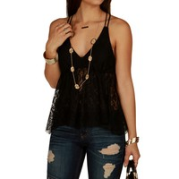Sale-boho Black Lace Tank