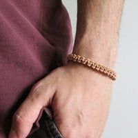 Men's Natural Leather Braided Bracelet, Surf Beach Bracelet, Gifts for Him Handknotted Man Surfer Jewelry