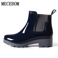 2017 Platform Rain Boots Ladies Rubber Ankle Boots Low Heels Women Boots Slip On Flats