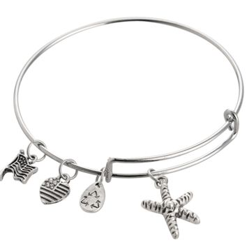 Alex and Ani  style Starfish pattern pendant charm bracelet