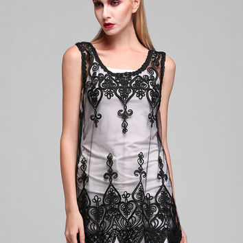 Mesh Lace Embroidered Flowers Sleeveless Top
