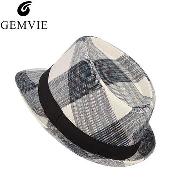 Cotton Men Wide Brim Summer Hat Plaid Fedoras Derby Bowler Hat Male Jazz Gangster Caps Panama Church Hats Chapeau