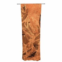 "Marianna Tankelevich ""Geometry Of Fire"" Orange Brown Mixed Media Decorative Sheer Curtain"