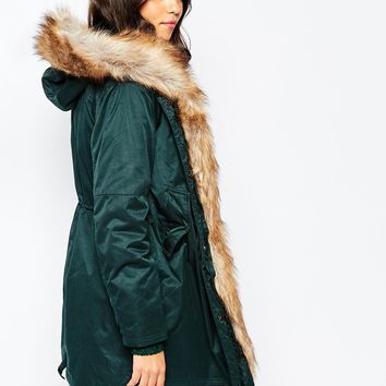 Pull&Bear Detachable Fur Lined Parka