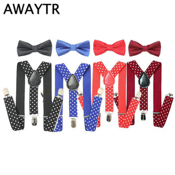 AWAYTR 1PCS kids Polka Dot Suspenders Elastic Adjustable Y-Back Braces Clip-on Bowtie Bow Ties Kids Wedding Party Accessories