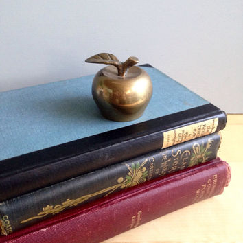 Small Vintage Brass Apple Bell  / Vintage Home Decor / Teacher Gift / Antique Brass Bell / Apple Home Decor