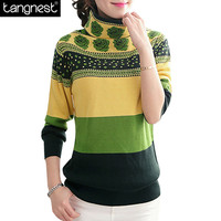 TANGNEST Autumn Casual Knitted SWEATER Women 2016 Floral Pullover Jumper  Warm Turtleneck Pull Sweaters Female Pullover WZM552